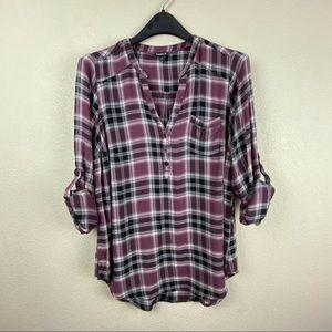 Torrid I see v neck 1/4 button flannel pullover 00
